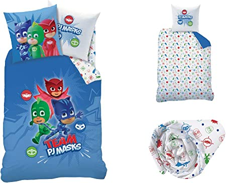 PJ Masks - Juego de cama de 3 piezas, 100 % algodón, funda nórdica (140 x 200 cm) + funda de almohada (63 x 63 cm) + sábana bajera (90 x 190 cm)
