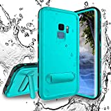 Shellbox Galaxy S9 Waterproof Case, Underwater Case Built-in Screen Protector Fully Sealed Shock Dirt Snow Proof Cover Case with Kickstand (Teal, 5.8'')