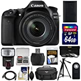 Canon EOS 80D Wi-Fi Digital SLR Camera & EF-S 18-135mm IS USM Lens with 64GB Card + Battery + Case + Flash + Tripod + 3 Filters + Kit
