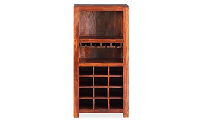 Jiya Creation Bar Cabinet | Wine Rack with Glass Storage | Bar Unit for Home Decor (Sheesham Wood) (Honey Shade)