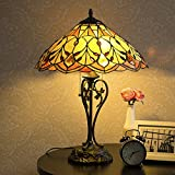 Cloud Mountain Tiffany-Style Table Lamp Victorian 2-Light with 17.5'' Shade 23'' Height