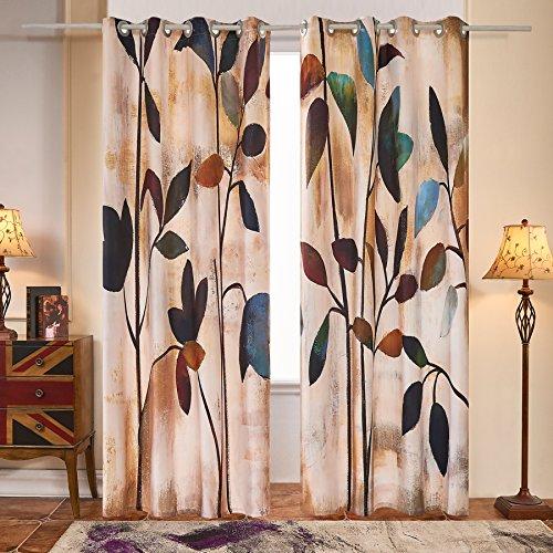Fassbel 2 Panel Set Digital Printed Window Curtains for Bedroom Living Room Dining Room Kids Room (W54× L63 Leaves) - bedroomdesign.us