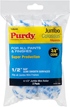 Purdy 4-1//2inch Jumbo Colossus Roller Cover 1//2inch Nap 2//Pk
