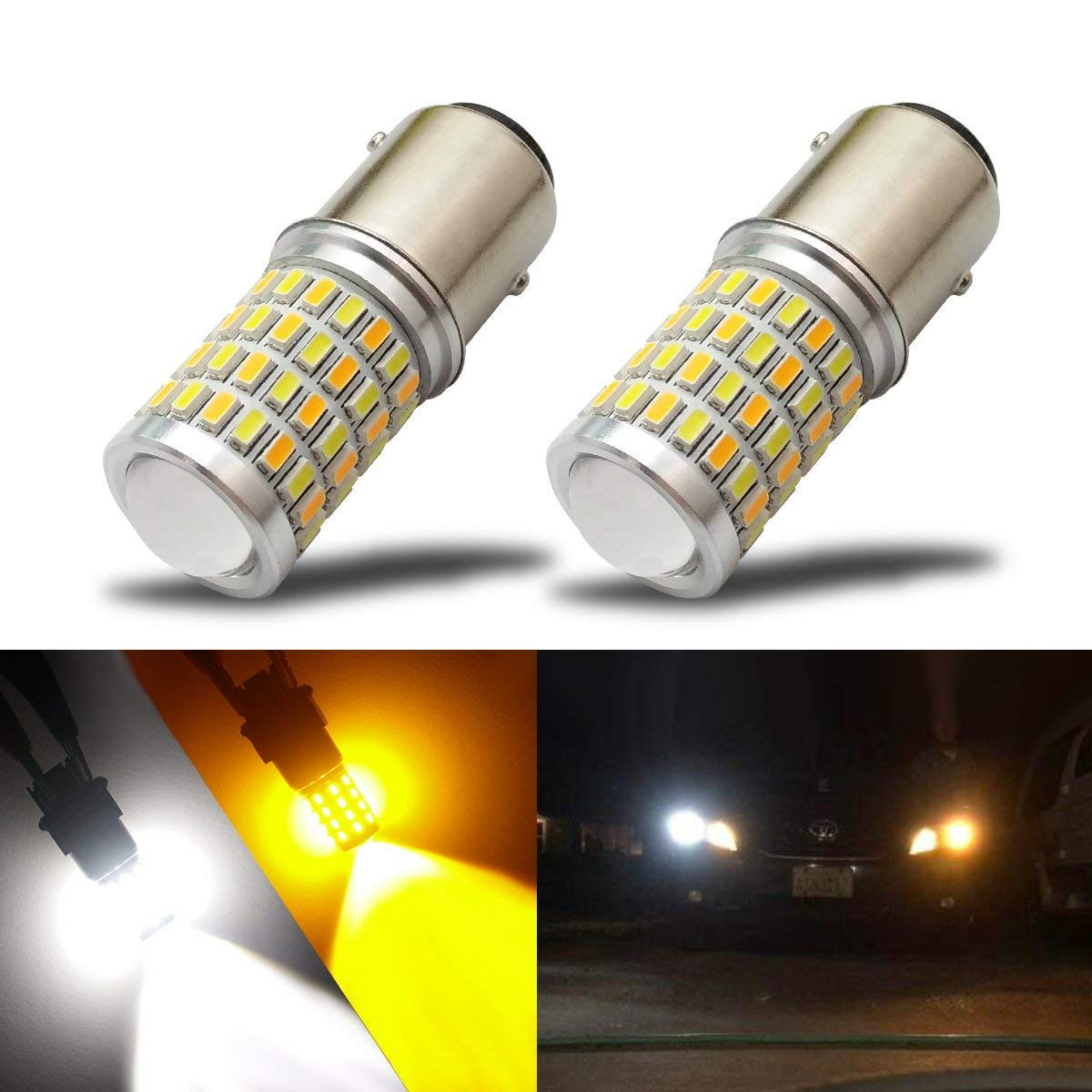 iBrightstar Newest Super Bright 1157 2057 2357 7528 BAY15D P21/5W Switchback LED Bulbs with Projector Replacement for Daytime Running Lights/DRL and Turn Signal Lights, White/Amber