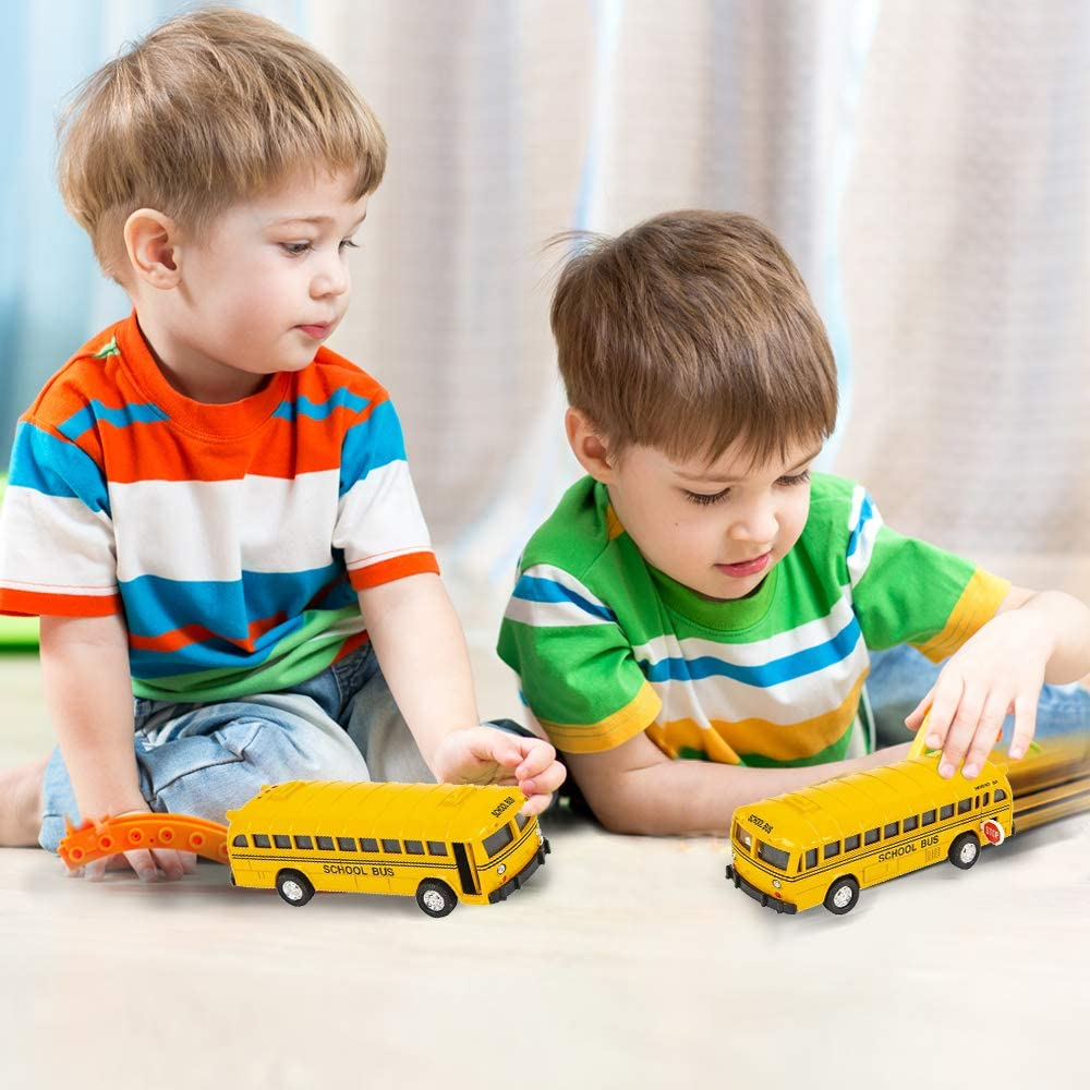 Great Party Favors Set of 2 Classic School Buses Diecast Bus Toy Set with Pull Back Mechanisms ArtCreativity 5 Inch Pull Back School Bus Playset Gift Idea for Boys and Girls