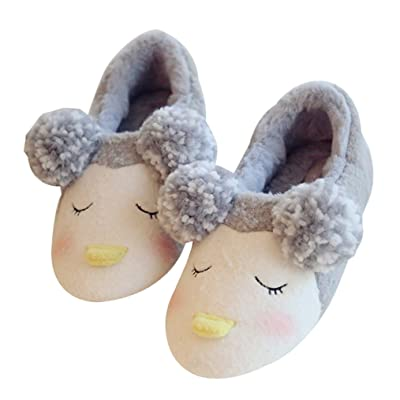 C'wait Womens Pompoms Animal Warm Cute Slippers Indoor House Slipper Shoes
