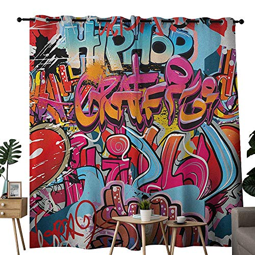 (NUOMANAN Window Curtains Graphic,Hip Hop Street Culture Harlem New York City Wall Graffiti Art Spray Artwork Image, Multicolor,Tie Up Window Drapes Living Room)