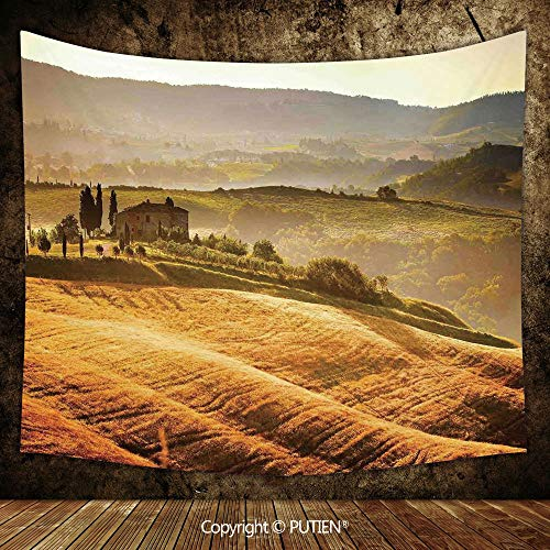 """Elegant Tapestry Wall Hanging [ Tuscan,Siena Tuscany Retro Farm House Trees Old Path Country Landscape on Sunset,Ginger and Green ] Fabric Wall Hanging Decor for Bedroom Living Room Dorm, 60"""" W By 51"""""""