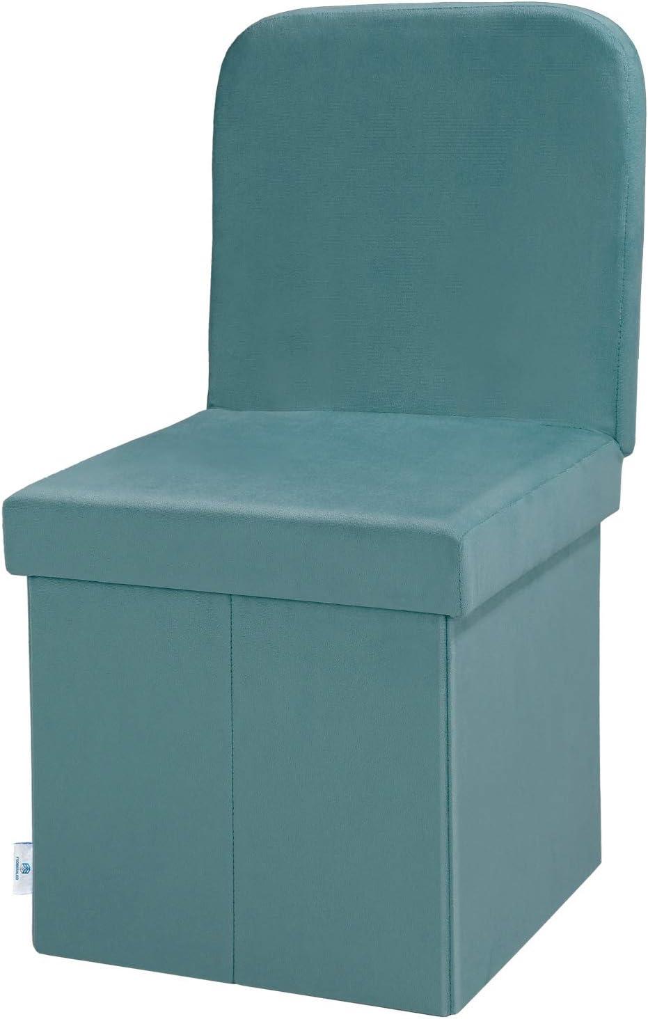 B FSOBEIIALEO Storage Ottoman Velvet with Seat Back, Folding Chair Seat for Living Room, Sturdy Toy Chest Storage Box (Teal, Medium)