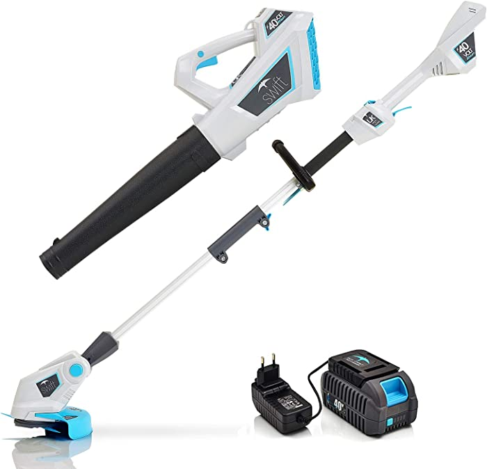 Swift 40V Cordless String Trimmers 9000 RPM Grass Trimmer Edger and Leaf Blower Twin Pack Sweeper Combo with Samsung Battery and Charger