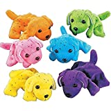Plush Neon Dogs (1 dozen) - Bulk, Assorted Colors