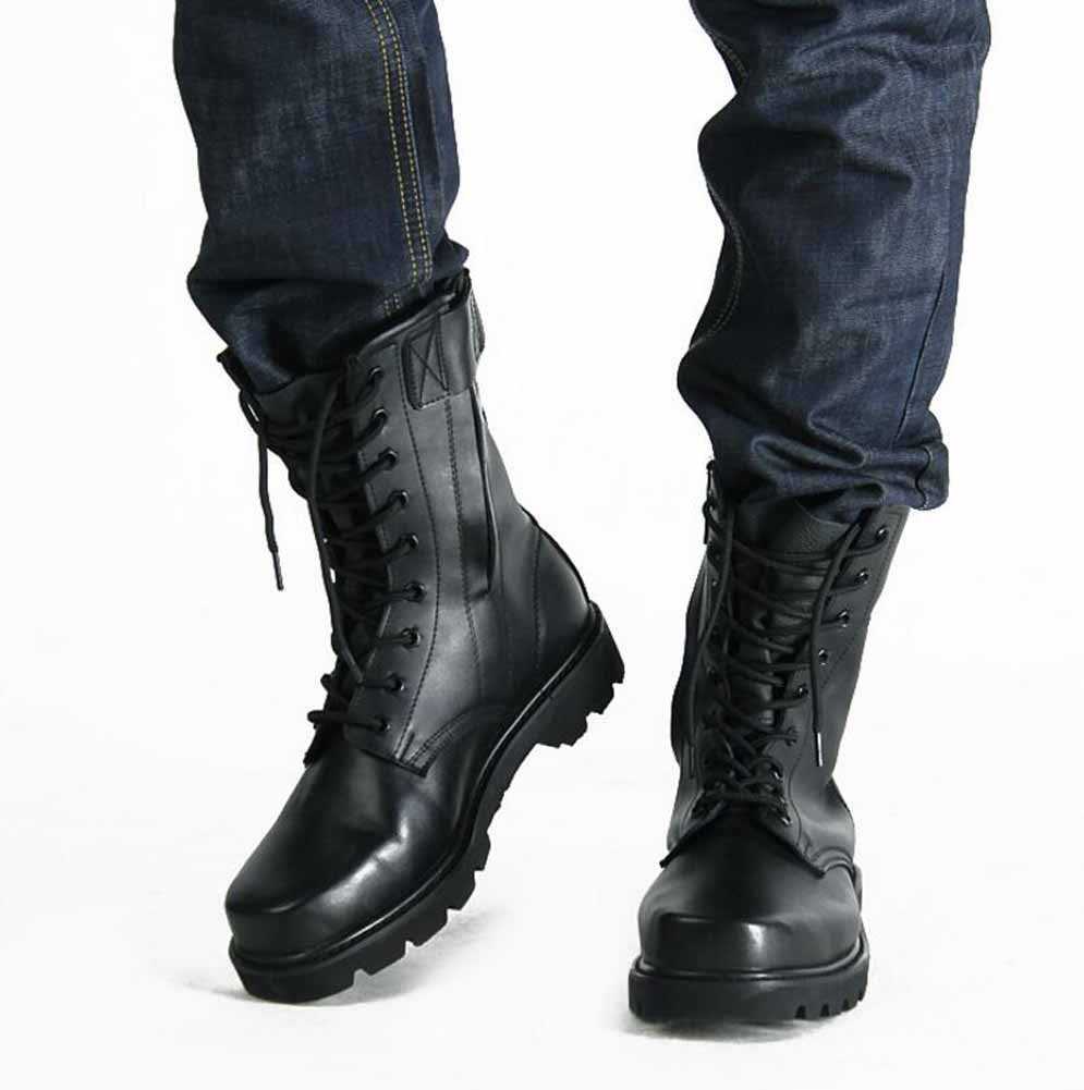 Hombres Botas de Caza de Cuero High Rise Martin Botas Otoño Invierno Lace Up Zapatos Deportivos Al aire libre impermeable Zapatillas GLSHI