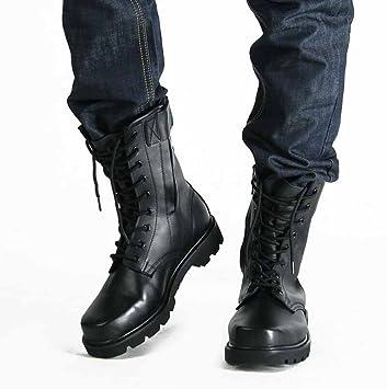 SHIXRAN Hombres Botas de Caza de Cuero High Rise Martin Botas Otoño Invierno Lace Up Zapatos Deportivos Al Aire Libre Impermeable Zapatillas: Amazon.es: ...