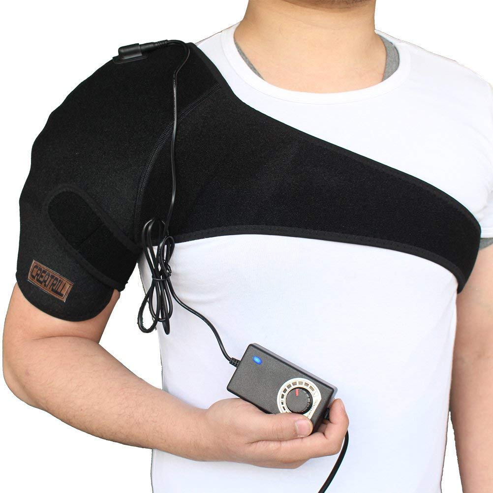 Creatrill Shoulder Heating Pad - Temperature Free Adjustable Heated Brace Support Wrap for Arthritis, Rotator Cuff, Frozen Shoulder, Shoulder Dislocation, Deferred Pain Hot Therapy