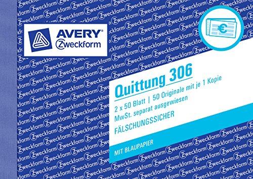 Avery Zweckform 306 Quittung MwSt. separat ausgewiesen (A6 quer, 1 Blatt Blaupapier, 2x50 Blatt) weiß