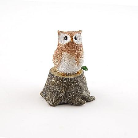 Small Miniature Porcelain Hand Painted Owl on Tree Stump Figurine
