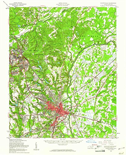 YellowMaps Fayetteville NC topo map, 1:62500 scale, 15 X 15 Minute, Historical, 1957, updated 1961, 20.7 x 16.9 IN - Paper -