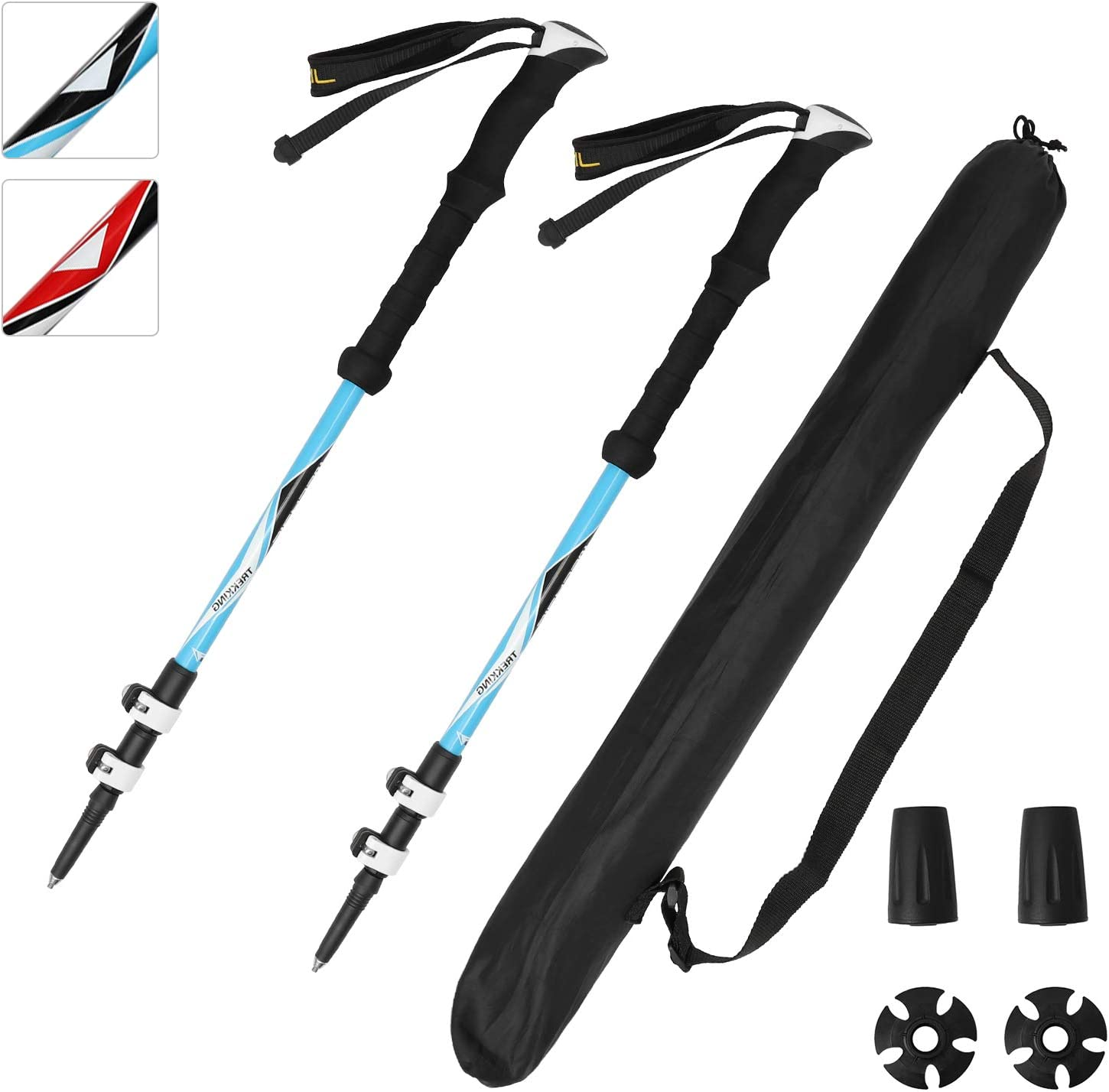 Premium Trekking Poles 100 Carbon Fiber 2 Pieces Collapsible Lightweight,Hiking Sticks Anti Shock with EVA Foam Handle and Quick Lock for Women Men,Nordic Walking Poles Blue Red for Hiking Mountain