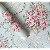 Amao Light Green Damask Floral Peel and Stick Self-Adhesive Wallpaper Contact Paper Sticker for Home Kitchen Holiday Decor 17.7''x78.7''