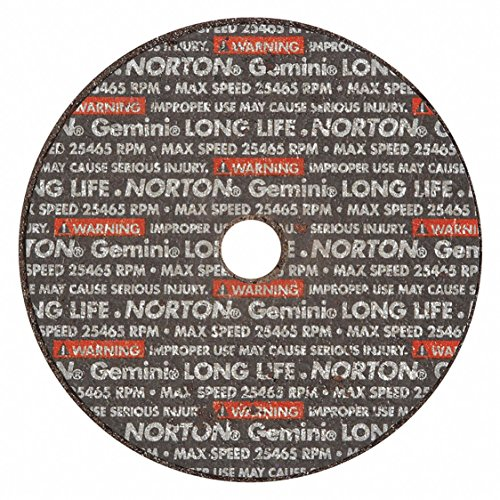 Norton Gemini Long Life Small Diameter Reinforced Abrasive Flat Cut-off Wheel, Type 01, Aluminum Oxide, 3/8 Arbor, 3