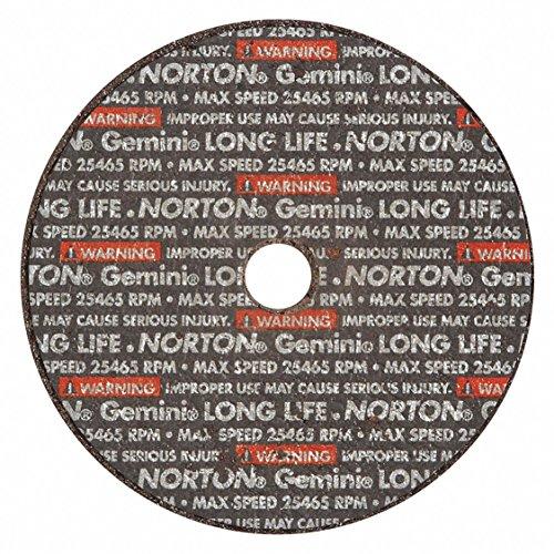Norton Gemini Long Life Small Diameter Reinforced Abrasive Flat Cut-off Wheel, Type 01, Aluminum Oxide, 3/8 Arbor, 3
