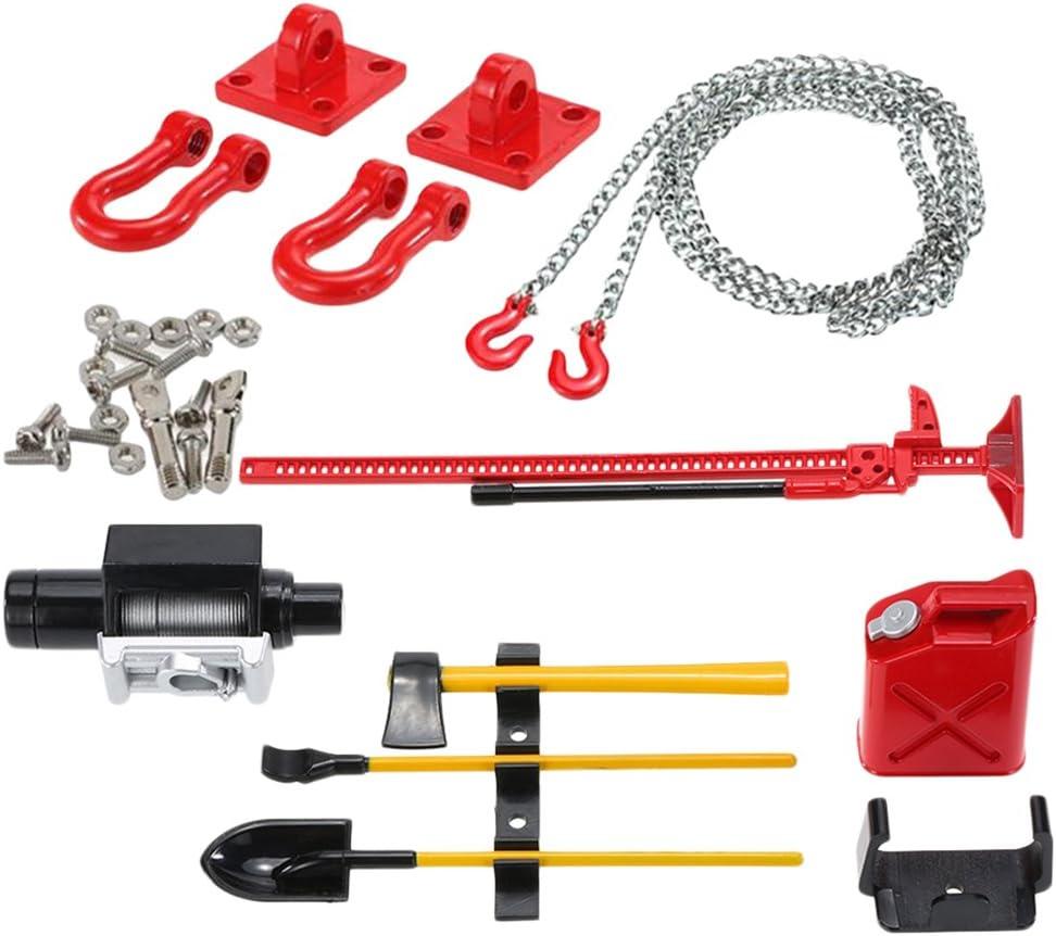 Fenteer Abschlepphaken Anhänger Kette Öltank Trommel Schaufel Werkzeug Kit Für 1 10 Rc Auto Spielzeug