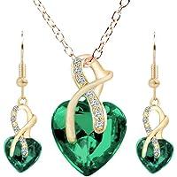 Sterling Silver Amethyst Purple Heart Crystal Pendant Necklace