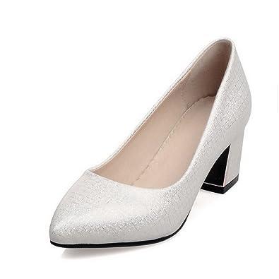 b3fd21df037647 AgooLar Damen Rein Blend-Materialien Mittler Absatz Spitz Schließen Zehe  Pumps Schuhe