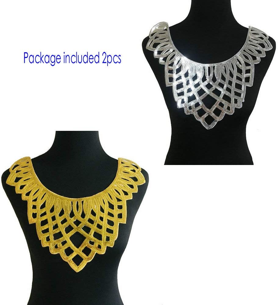 1pcs Craft Collar Sequin Floral Embroidered Applique Trim Decorated Lace Neckline Collar Sewing Accessories Blue C