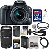 Canon EOS Rebel SL2 Wi-Fi Digital SLR Camera & EF-S 18-55mm IS STM (Black) with 75-300mm Lens + 32GB Card + Battery & Charger + Tripod + Filters Kit
