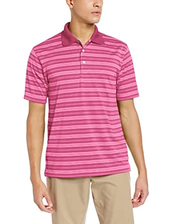 PGA TOUR Men's Airflux Stripe Polo Shirt, Azalea Pink, Medium