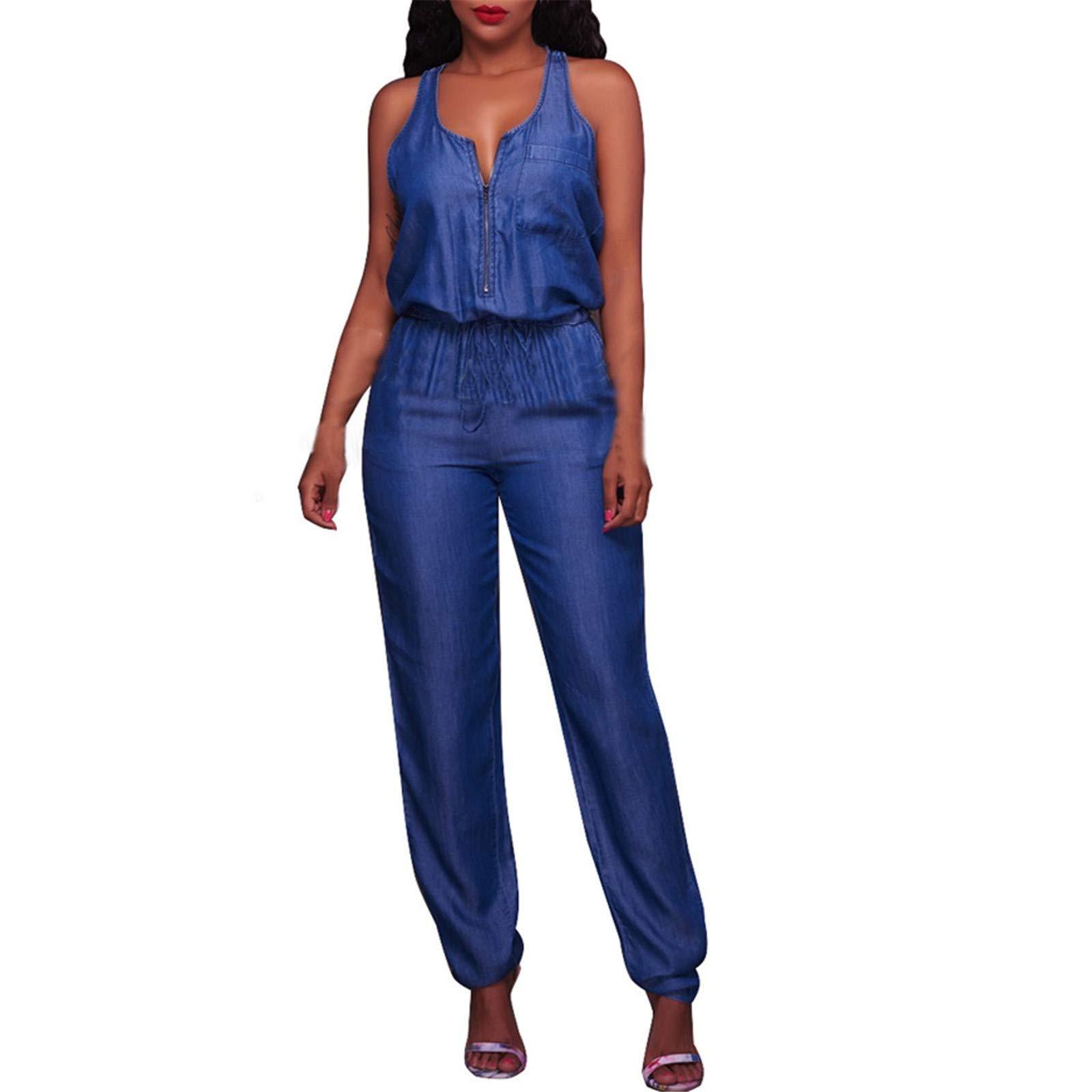 Thenxin Denim Jumpsuit Zipper Up V Neck Sleeveless Romper Elastic Waist Beam Foot Playsuit(Blue,L)