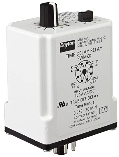 Time Delay Relay, 120VAC/DC, 10A, DPDT - - Amazon.com on