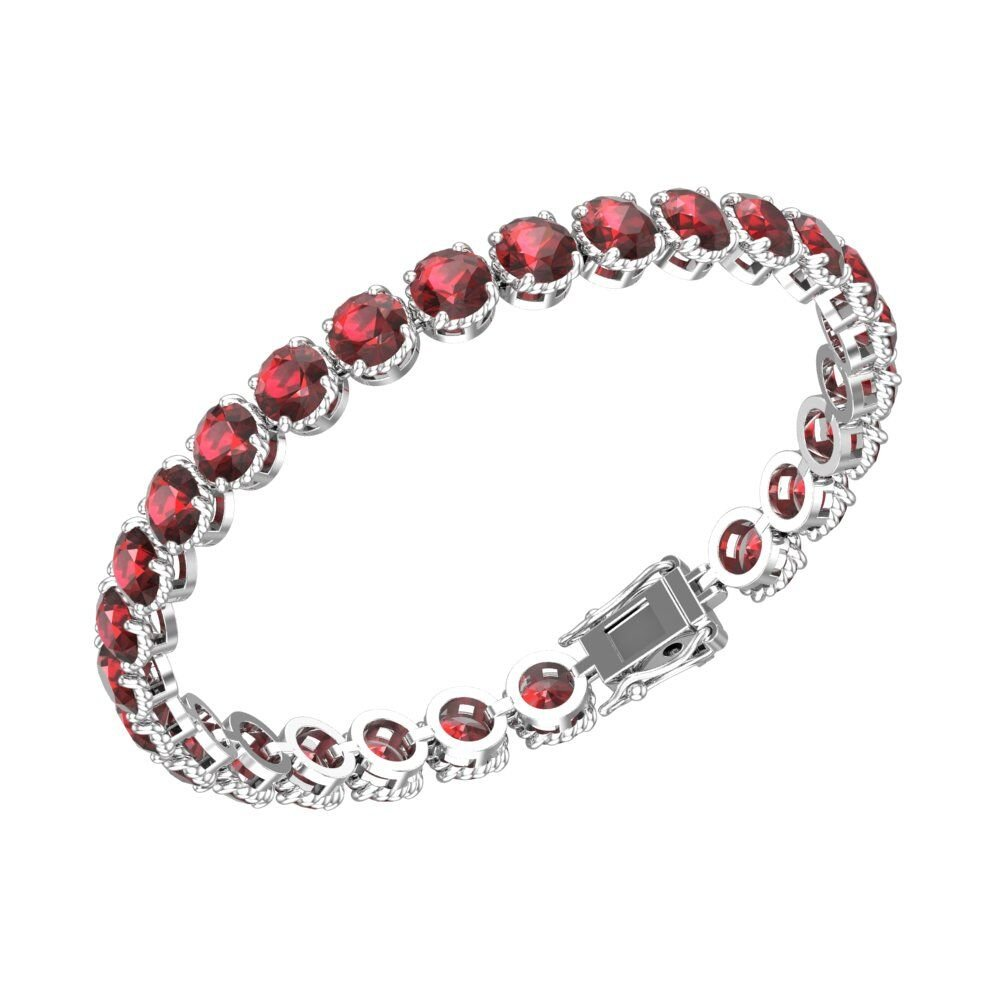 Belinda Jewelz Womens 925 Real Solid Sterling Silver Rhodium Plated Classic Sparkling Tennis Circle Solitaire Round Gemstone Prong Setting Gift Jewelry Bracelet, 7 inch 10 Carat, Garnet Red