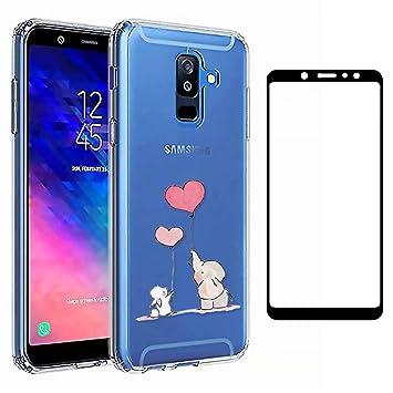 Laixin Funda para Samsung Galaxy A6 Plus 2018 Transparente Carcasa TPU Silicona Case Cover [Anti-arañazos] Cristal Bumper + Protectore de Pantalla, ...