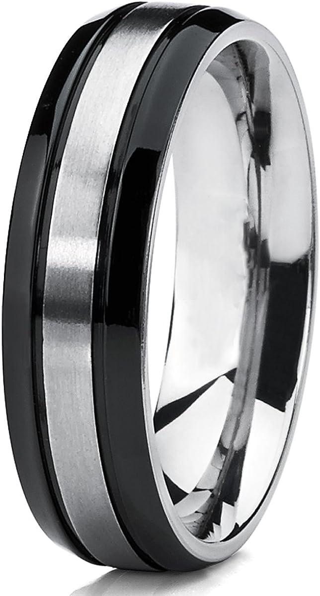 Ultimate Metals Co pour Homme Int/érieur Confort 6MM Bague de Mariage en Titane Noire avec Bords biseaut/és