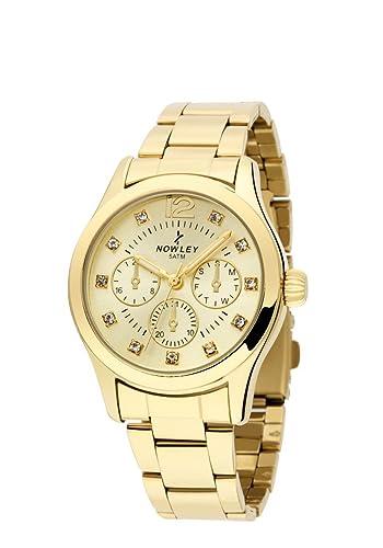 Reloj Mujer, marca Nowley, acero chapado, esfera color champan, con circonitas: Amazon.es: Relojes