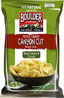 product image for Boulder Canyon Kettle Cooked Potato Chips, Sour Cream & Chives, 6.5 Ounce (Pack of 12)