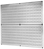 Pegboard Rack Wall Control Garage Storage Galvanized Steel Pegboard Pack - Two 32-Inch x 16-Inch Shiny Metallic Metal Peg Board Tool Organization Panels