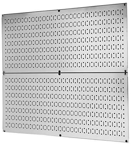 Pegboard Rack Wall Control Garage Storage Galvanized Steel Pegboard Pack - Two 32-Inch x 16-Inch Shiny Metallic Metal Peg Board Tool Organization Panels ()