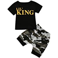 erthome Baby Kleidung, Kids Baby Jungen Outfits Set Letter T Shirt Tops+Camouflage Shorts