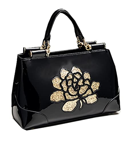 96aaeb0997 Himaleyaz New Patent Leather Handbag High-end Shoppe Fashion Ladies Handbag  Shoulder Messenger Bag Black  Amazon.co.uk  Luggage
