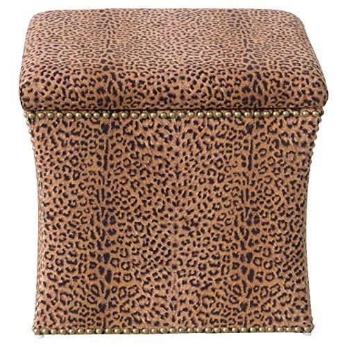 Clarissa Nail Button Storage Ottoman - Cheetah Earth - Skyline Furniture Brown