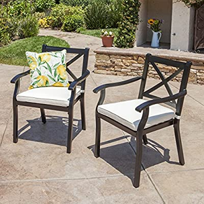 Eowyn Outdoor Cast Aluminum Dining Chairs w/Water Resistant Cushions (Set of 2) - Comfortable and attractive, these Exome chairs by Christopher Knight Home will look great around your outdoor dining table Manufactured in China Assembly required but completely worth it - patio-furniture, patio-chairs, patio - 61vRFLcTMaL. SS400  -