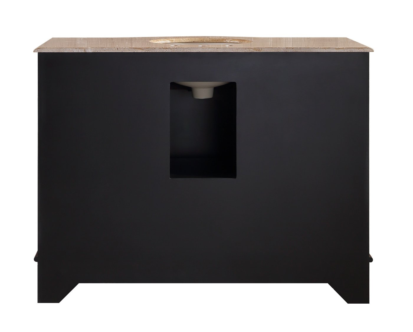 Stufurhome GM-6123-48-TR 48-Inch Lotus Single Vanity in Dark Brown Finish with Marble Top in Travertine with White Undermount Sink and Mirror