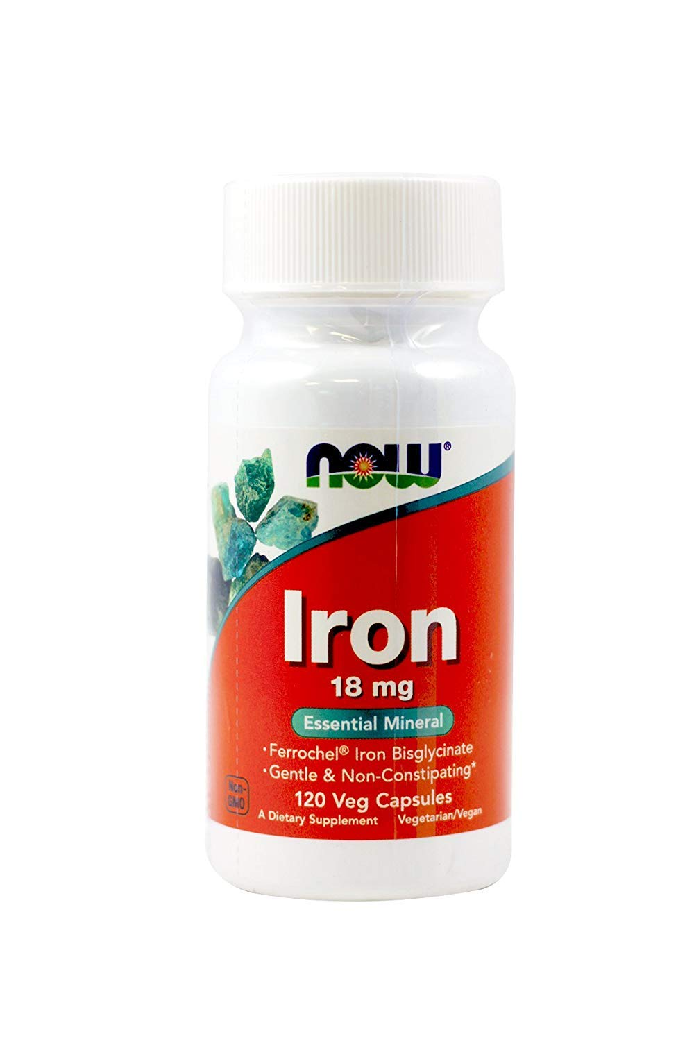 Now Foods Iron 18mg Ferrochel, Veg-capsules, 120-Count (Pack of 2)