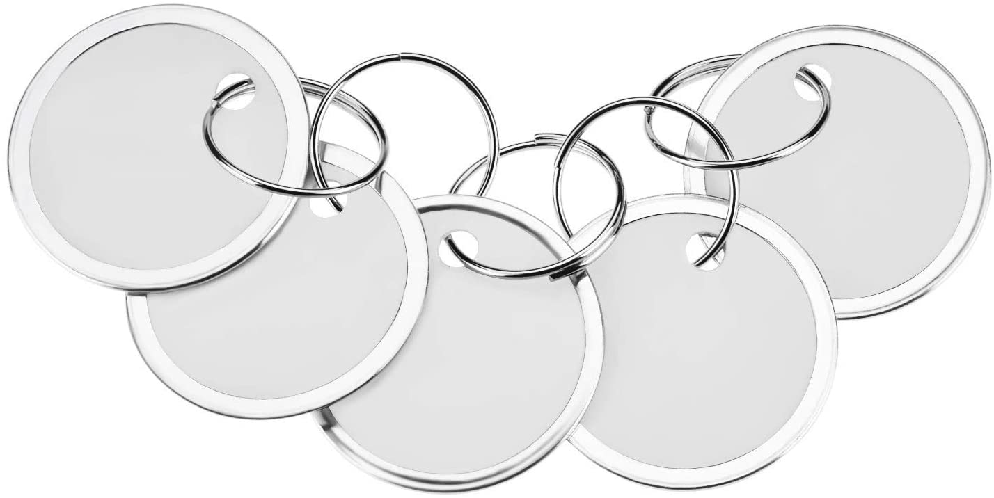 Fanrel 60 Pieces Metal Rimmed Key Tags Round Paper Tags with Split Rings (31mm, White)
