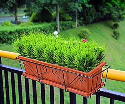 YUEJIA 4pcs Artificial Outdoor Plants Faux Plastic Wheat Grass Fake Leaves Shrubs Greenery Bushes Indoor Outside Home Garden Office Wedding Party Decor UV Resistant