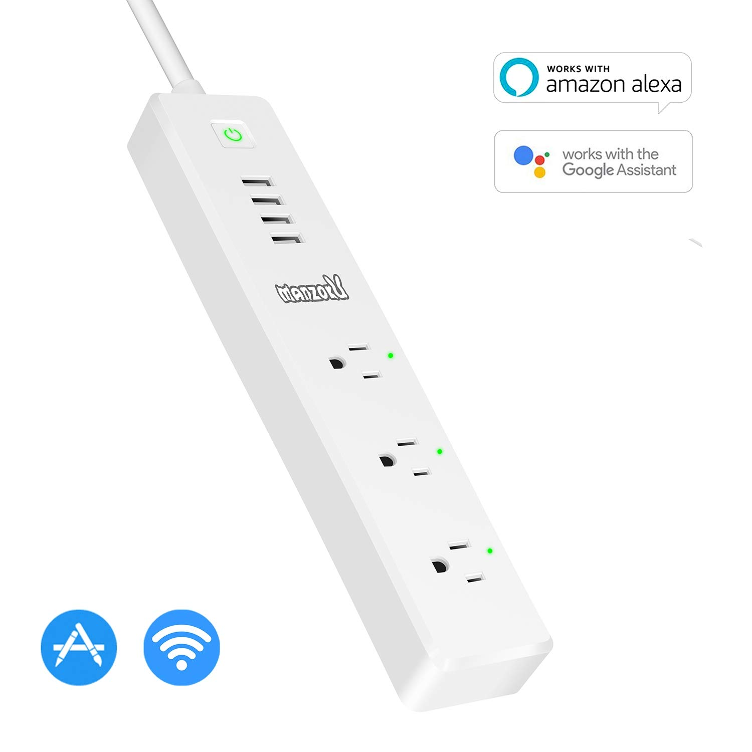 Smart Power Strip, WiFi Remote Control Surge Protector, Wireless Smart Outlet with 3 AC + 4 USB Ports(90-264V/15A), No Hub Required, Compatible with Alexa and Google Home Mini, Idle for Home & Office