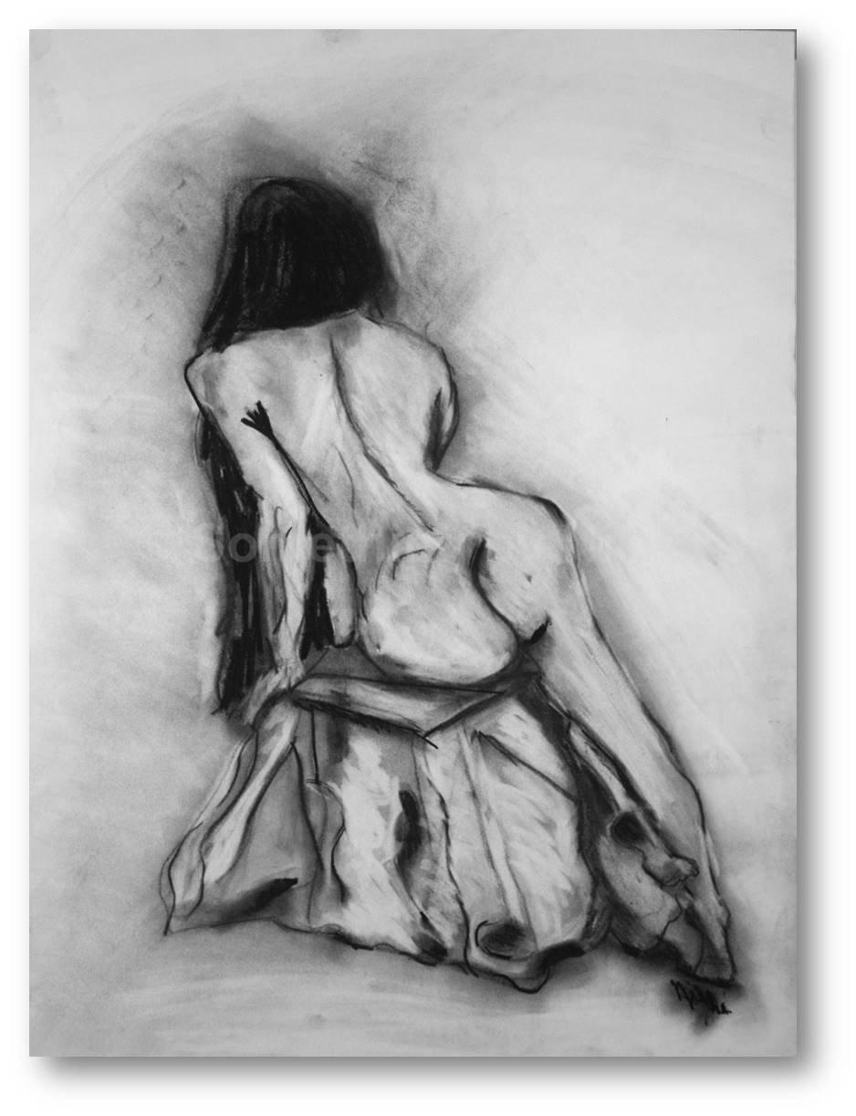 Amazon com nude art charcoal drawing female nude large figure drawing nude model original artwork sitting nude handmade